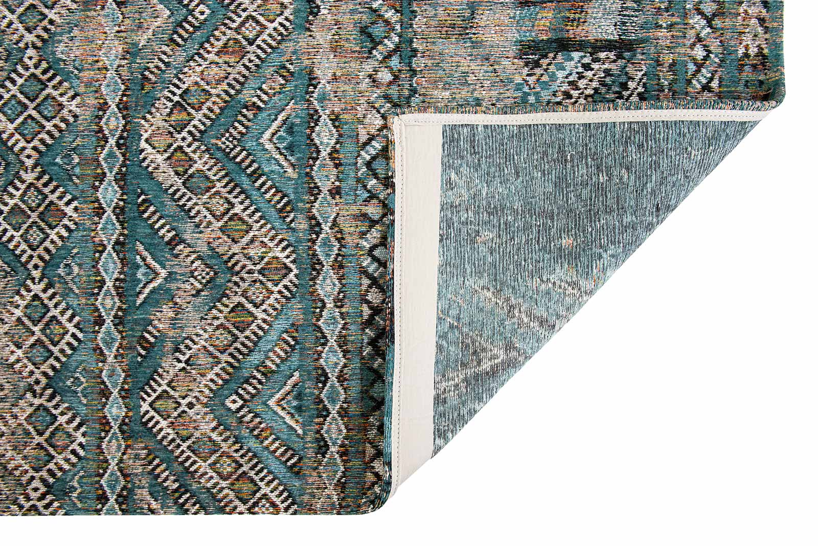 Louis De Poortere teppich LX 9110 Antiquarian Kilim Zemmuri Blue back