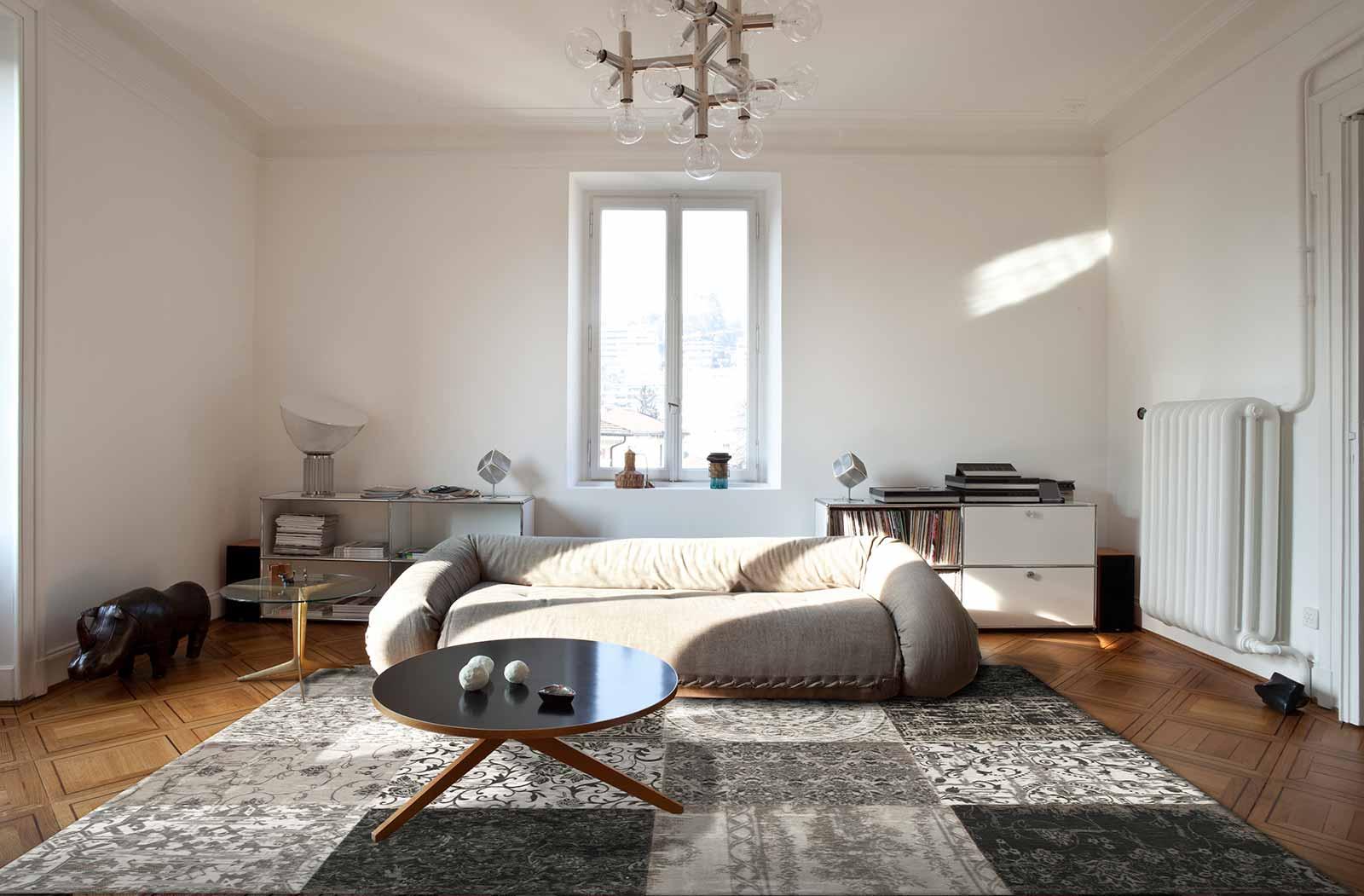 teppich Louis De Poortere LX 8101 Vintage Black White interior