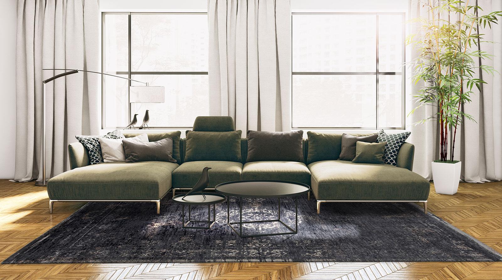 teppich Louis De Poortere LX 8263 Fading World Medaillon Mineral Black interior